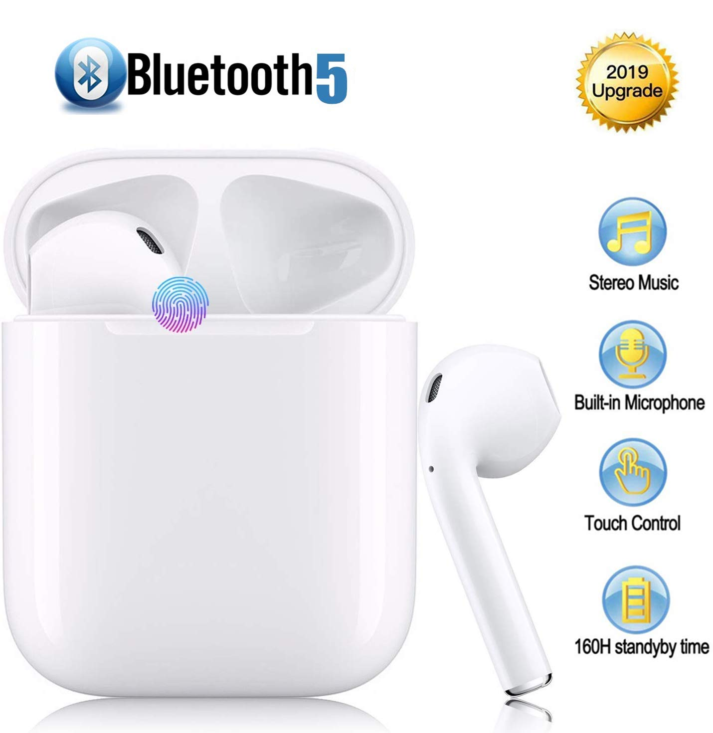 TWS Cordless Earphones Wireless Earbuds Mini Sports Headphones Stereo Earpieces Bluetooth Headsets for iOS XMAS XR X 8 7 6 Plus and Android Galaxy Sumsung Note S7 S8 S9 S10 Plus