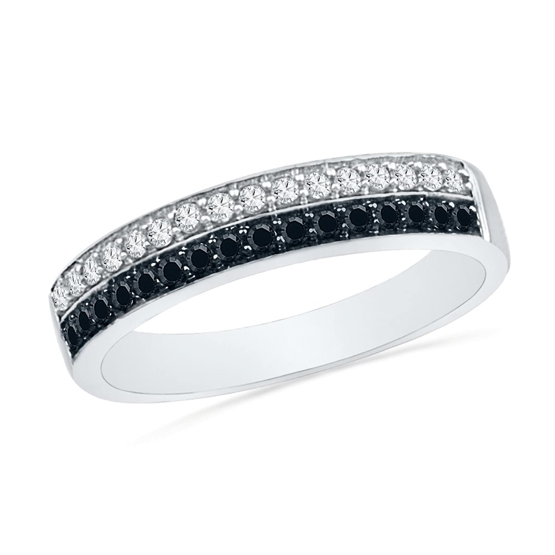 10KT White Gold Black And White Round Diamond Anniversary Ring (1/2 Cttw)