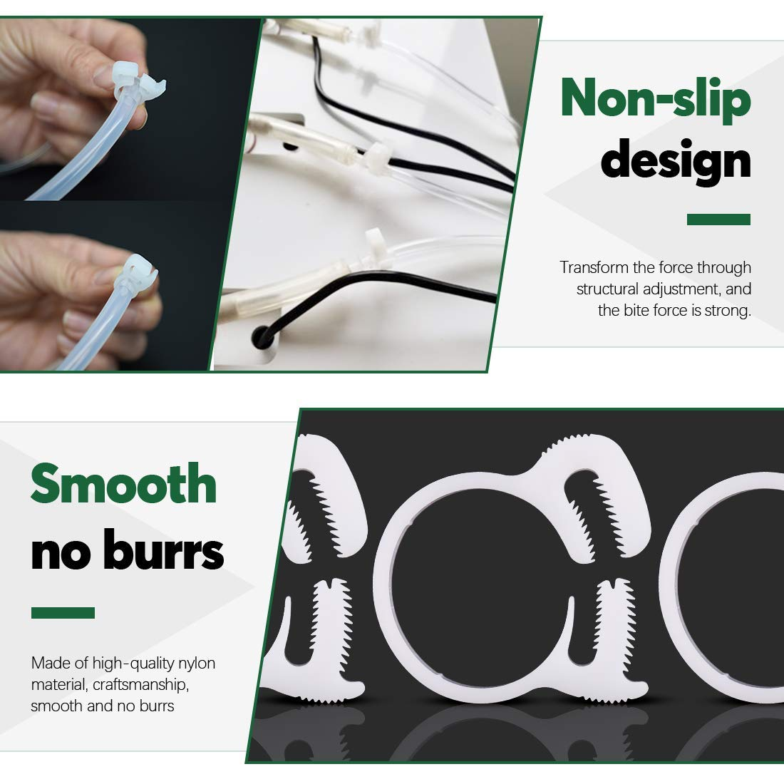 Quickun 1//4 Heavy Duty Double Snap Grip Nylon Hose Clamps Several Ratcheting Adjustable Clamp 2 Packs