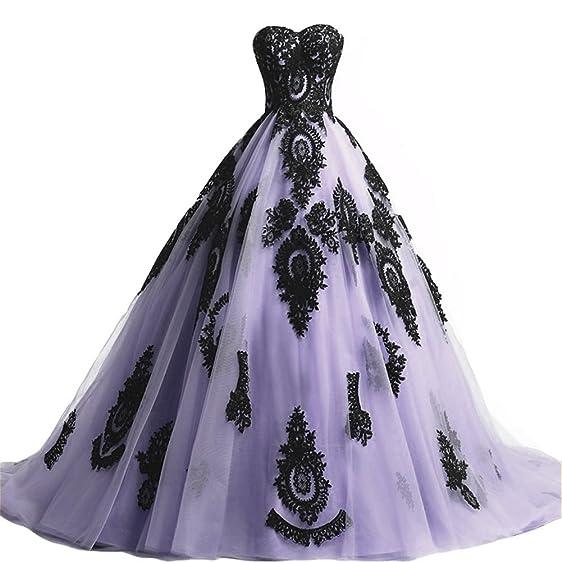Amazon.com: Kivary Long Ball Gown Black Lace Gothic Corset Formal ...