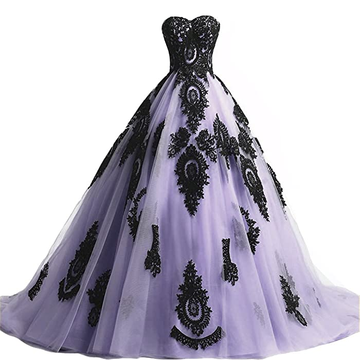 Amazon.com: Black Lace Long Tulle A Line Prom Dresses Evening Party Corset Gothic Wedding Gowns Lavender US 2: Clothing