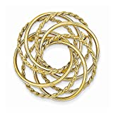 14k Yellow Gold Hollow Swirled Designer Ciclre Pin