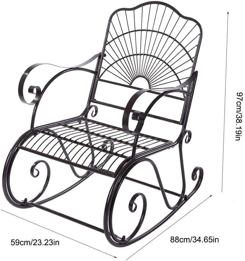 schwarz den Park Schaukelstuhl Rocker aus Eisen Stuhl einzigartig f/ür die Patio Estink Schaukelstuhl Garten aus Eisen den Hof