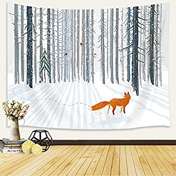 KOTOM Nature Tapestries, Winter Fox in Woods, Living Room Bedroom Dorm Polyester Fabric Wall Hanging 80X60Inches