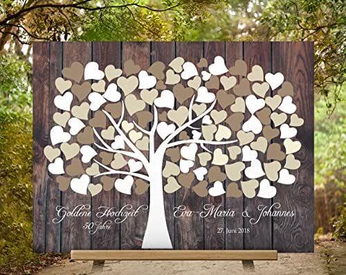 50x40 cm Lienzo Wedding tree guest book Efecto de madera