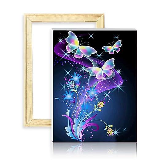 ufengke Kit Pintura de Diamantes 5D Mariposas Punto de Cruz Diamante Completo DIY para Amantes del Arte, con Marco de Madera, Diseño 25x35cm
