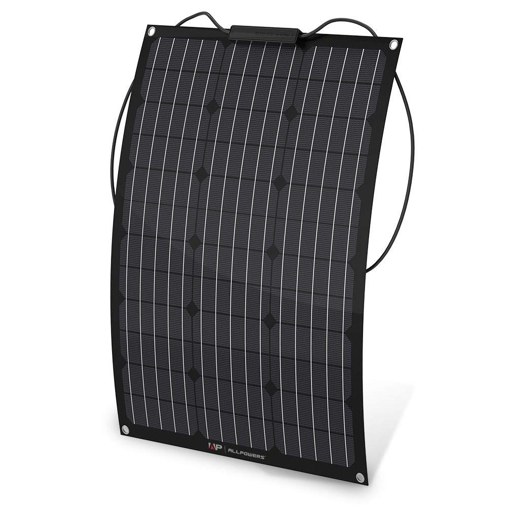 ALLPOWERS 50W Solar Panel 18V 12V Bendable Flexible Solar Charger Kit Water-Ultra Lightweight Resistant Monocrystallinewith ETFE Layer Solar Module for RV, Boat, Cabin, Tent, Car, 12V Battery-Updated