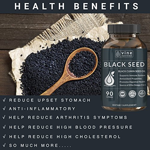 Premium Black Seed Oil Capsules - Nigella Sativa - Immune System Support Soft Gels | Cold Pressed Antioxidant Vegetarian Black Cumin Supplement | 500MG Made In The USA By Vine Nutrition by Vine Nutrition (Image #5)