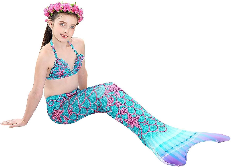 GALLDEALS Meerjungfrau Flosse Zum Schwimmen Meerjungfrau Schwanz mit Flosse mit Bikini f/ür Kinder M/ädchen