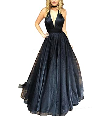 Fishlove Womens Sexy Deep V-Neck Prom Gowns 2017 Long Formal Evening Dresses E18 at Amazon Womens Clothing store: