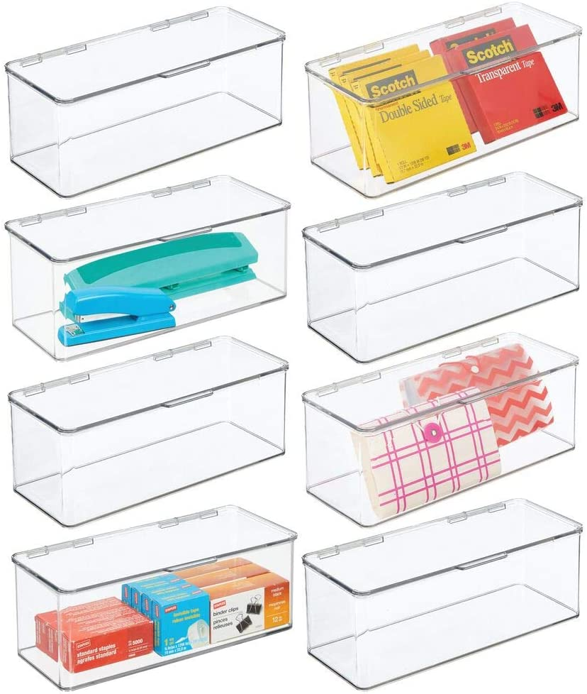 mDesign Plastic Stackable Home, Office Supplies Storage Organizer Box with Attached Hinged Lid - Holder Bin for Note Pads, Gel Pens, Staples, Dry Erase Markers, Tape, 8 Pack - Clear