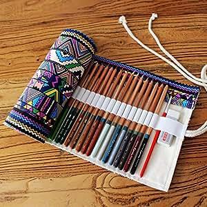 GUchina Canvas Pencil Case,Canvas Pencil Wrap,Colored Pencils Case,Multi-purpose Pouch for School Office Art,Original design-hold 48(72) (72-Piece, minority)
