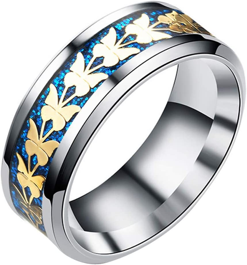 Blue, 6 ZODRQ Rings,Vintage Style Butterflies Print Cheap Rings Bohemian Above Knuckle Rings A Nice Gift