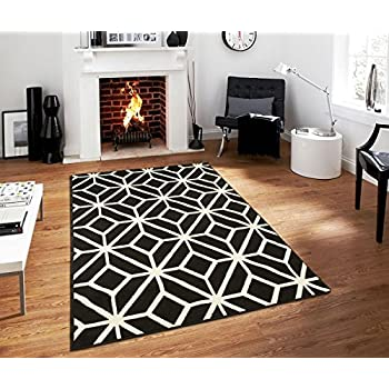 Contemporary Rugs For Living Room Modern Rugs 5x7 Black and White Moroccan Trellis Area Rug Carpet, 5 x 7-Feet, Black