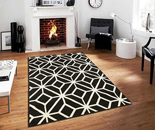 Contemporary Rugs For Living Room Modern Rugs 5x7 Black and White Moroccan Trellis Area Rug Carpet, 5 x 7-Feet, Black (Rug Black White Room And Living)