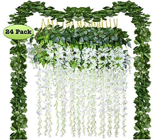 - 24 Pack Artificial Fake Wisteria Vine Rattan Hanging Garland Silk Flowers String and Ivy Leaf Foliage for Home Kitchen Garden Office Wedding Wall Decor (white, 24)