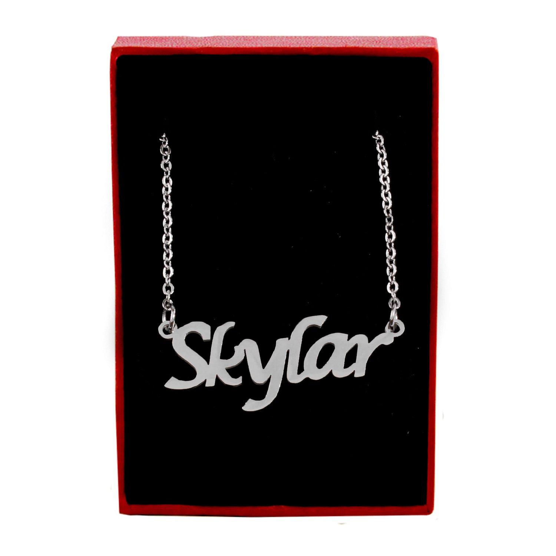 Zacria Skylar Name Necklace Silver Tone