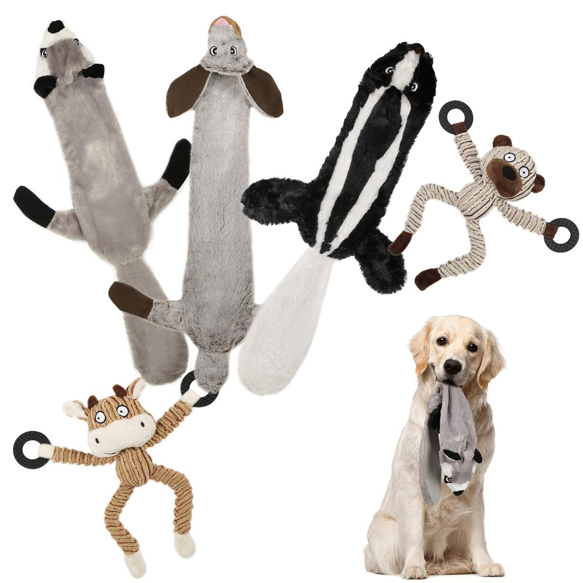 WZPB 5 Pack of Dog Toys,Three No Stuffing Toy and Two