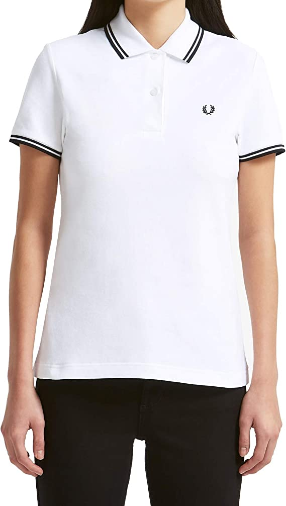 Fred Perry - Polo ajustado mujer Fred Perry Blanco Twin Tipped ...