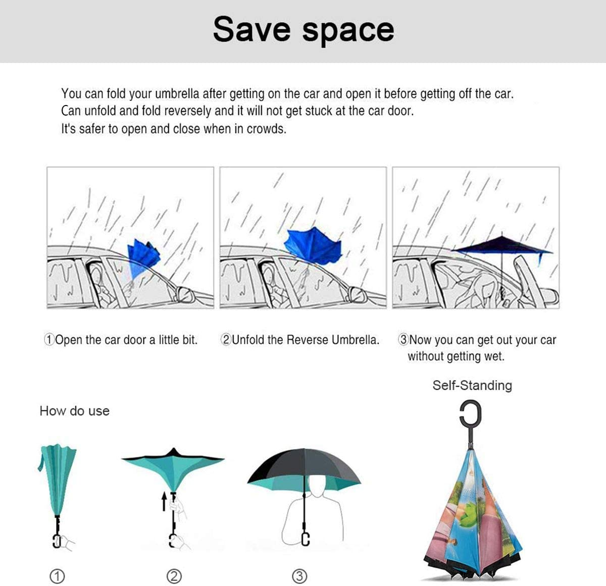 With C-Shaped Handle UV Protection Inverted Folding Umbrellas Tinker Bell And The Great Fairy Rescue Car Reverse Umbrella Windproof And Rainproof Double Folding Inverted Umbrella