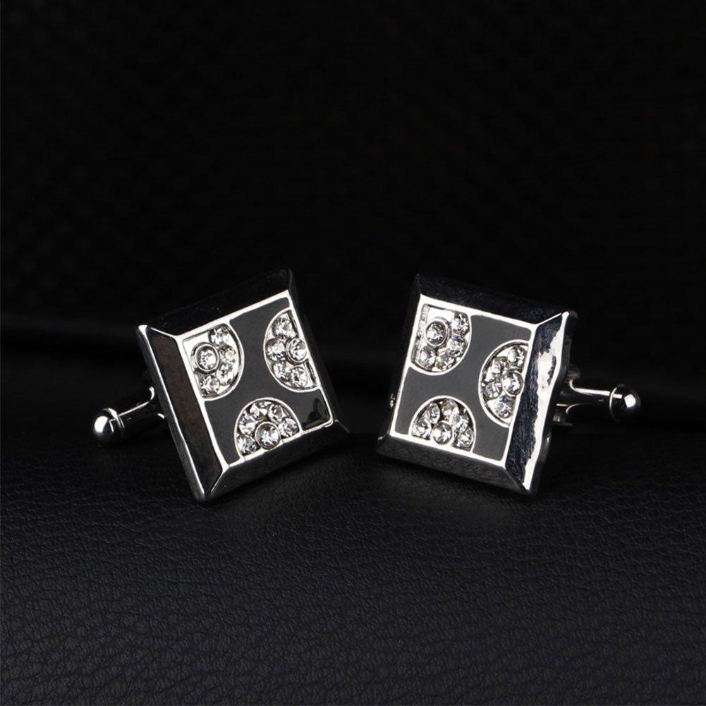 liyhh Fashion Square Alloy Rhinestone Men's Cufflinks Cuff Links Shirt Decor Gift - Silver by liyhh (Image #2)