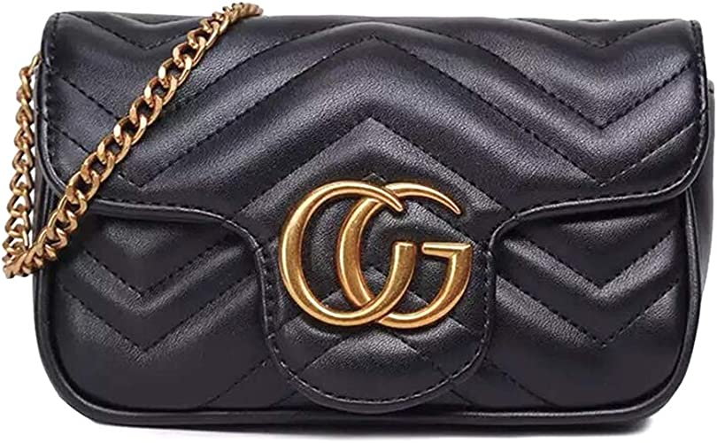 Women Ladies Quilted Leather Shoulder Messenger  handbag black fashion Bag UK