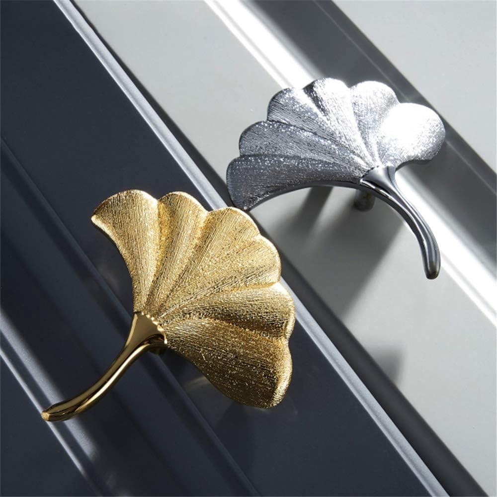 Fan Knobs Kitchen Knobs Gold Drawer Knobs,Replacement Door Handles Ginkgo Leaf Solid Brass Cabinet Knob Ginkgo Leaf Vein Pattern