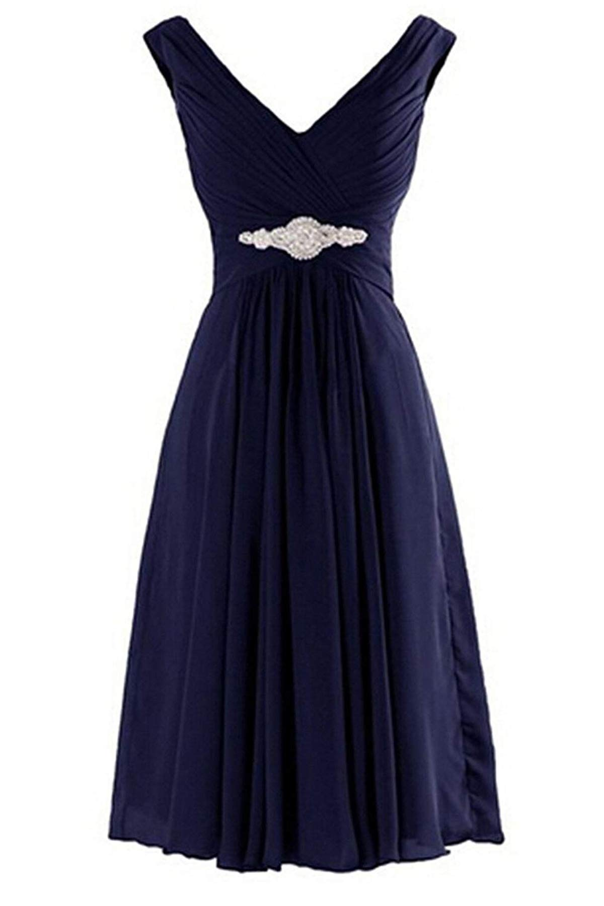 V Neck Bridesmaid Dress Short Mother Of The Bride Dress Formal Navy Blue 16w