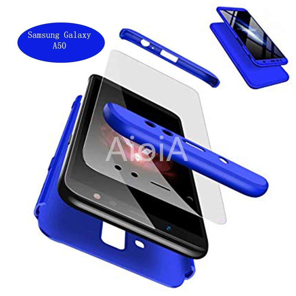 Funda Integral Samsung Galaxy A50 de 360/° Protecci/ón Carcasa Completa con Cristal Templado Ultra-Fina Movil Cubierta Dura Bumper Delantera y Trasera Hard-Case Phone Cover