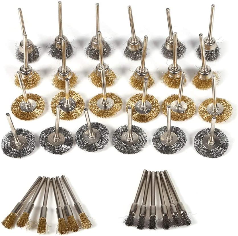 36pcs Brass Steel Wire Brush Set Pen Cup Wheel Shaped Polishing Cleaning Rotary Tools Full Kit Wire Brush