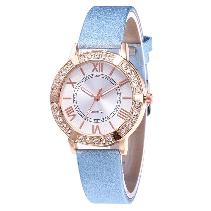 QinMM Reloj de pulsera de cuarzo analógico con banda de cuero muñeca diamante para mujer (Rosa): Amazon.es: Relojes