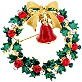 Classic Christmas Wreath with Bow & Bell Swarovski Crystal Pin Brooch