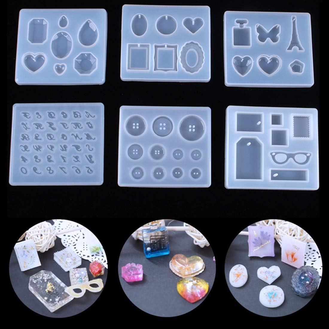 FineInno 6 Piezas Moldes para Abalorios de Resina Beads Resin Molds Moldes Silicona Manualidades Moldes para Resina Epoxi Joyeria Pendientes Arcilla