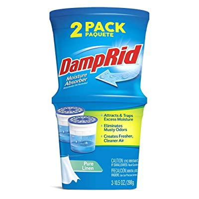 .com - DampRid Refillable Absorber, Pure Linen Twin Pack (2 x 10.5 Oz. tubs) | Attract and Trap Excess Moisture Eliminate Musty Odors at The Source and Create Cleaner, Fresher Air -