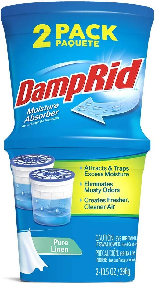 DAMPRID Refillable Absorber, Pure Linen Twin Pack (2 x 10.5 Oz. tubs) | Attract and Trap Excess Moisture Eliminate Musty Odors at The Source and Create Cleaner, Fresher Air