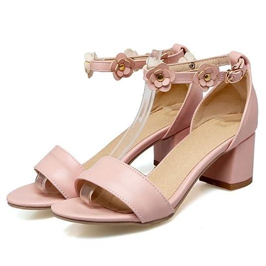Amazon.com | FANIMILA Women Fashion Ankle Strap Sandals Open Toe Block Heel Shoes Flowers | Heeled Sandals