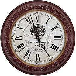 Yosemite Home Decor CLKA7184ME Circular Iron Wall Clock Red Frame, White Face, Black Text, Black Hands