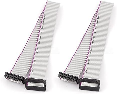 2pcs FC14P IDC 14-Pin F//F Hard Drive Data Extension Wire Flat Ribbon Cable 40cm