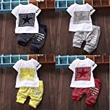 Leijing Baby Boy Kid Short Sleeve STAR Sportswear Clothes T-shirt Top Short Pants Outfit multi-color one size