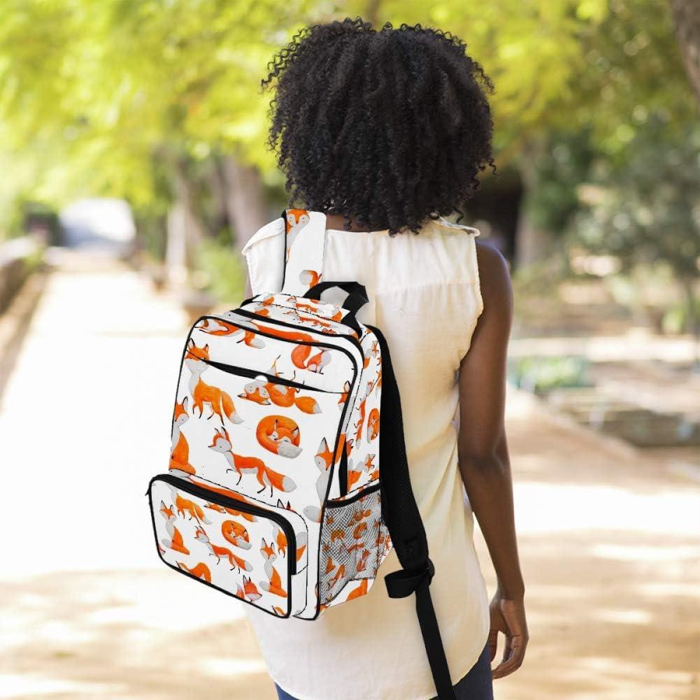 Casual School Backpack Foxes Life Pattern Print Laptop Rucksack Multi-Functional Daypack Book Satchel