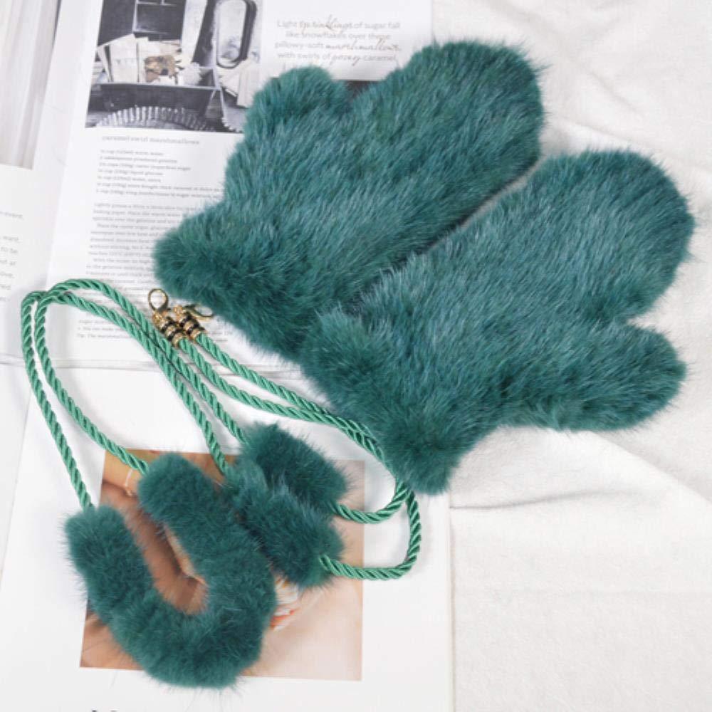 FFSMCQ Echtpelz-Rasenhandschuh-Süßigkeitfarbe Der Frauen Kreative Nette Art Weise Die Ansatzhandschuhe Im Freien Ski-Warme Gestrickte Plüschhandschuhe Hängt