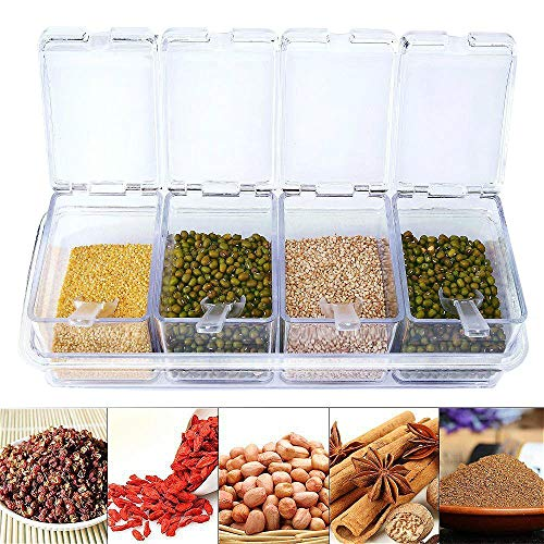 - Clear Seasoning Box - 4 Piece Clear Spice Box Storage Container,band Cover and Spoon