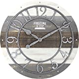 FirsTime 99687 Shabby Wood Wall Clock, Gray For Sale