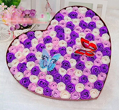 Favors Heart Wedding Soap - Qishi's 100pcs Colorful Fragrant Rose Bud Petal Soap Wedding Favor with Two Shining Butterflies in Heart Shape Box (purple)