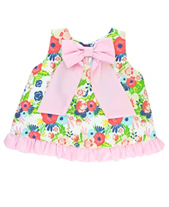 e1ad01438fe10d Amazon.com  RuffleButts Little Girls Floral Swing Top w Pink Bow and  Ruffles - 2T  Clothing