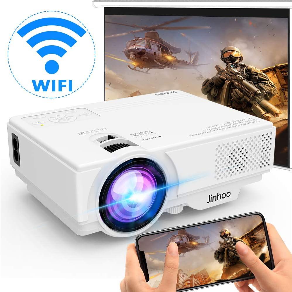 [Proyector WIFI] Wireless Proyector 5000 Lúmenes Soporta 1080P Full HD, Proyector de Video Compatible con Teléfonos Inteligentes, Tabletas, TV Stick, Reproductor de Juegos, USB, TF para Cine en Casa.
