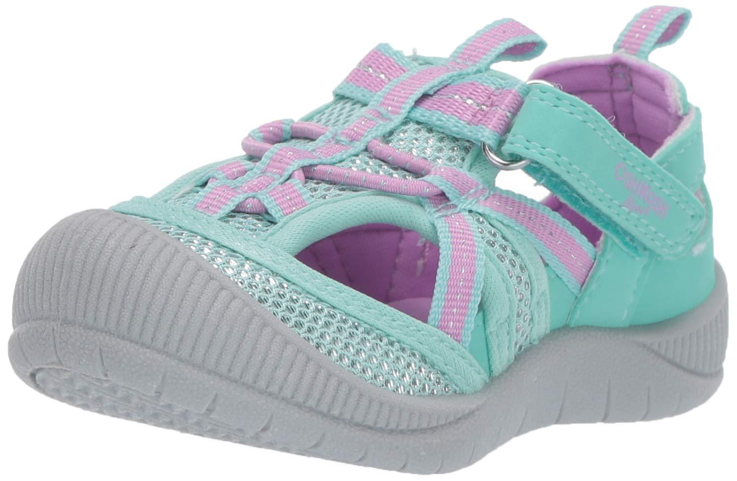 OshKosh B'Gosh Myla Girl's Mesh Athletic Bumptoe Sandal, Mint 9 M US Toddler