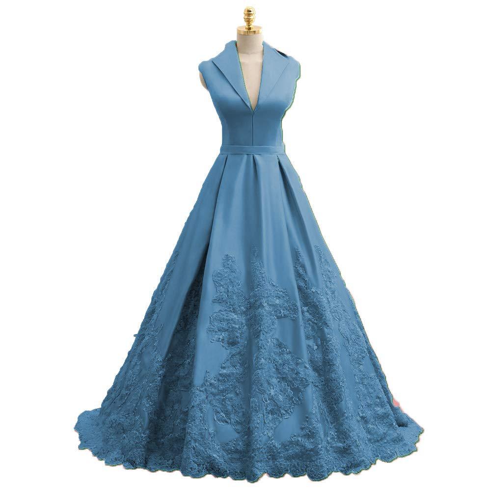 Teal MariRobe Women's Lace Applique Quinceanera Dress V Neck Prom Dresses A line Satin Evening Dress Sweet 16 Dress Prom Gown