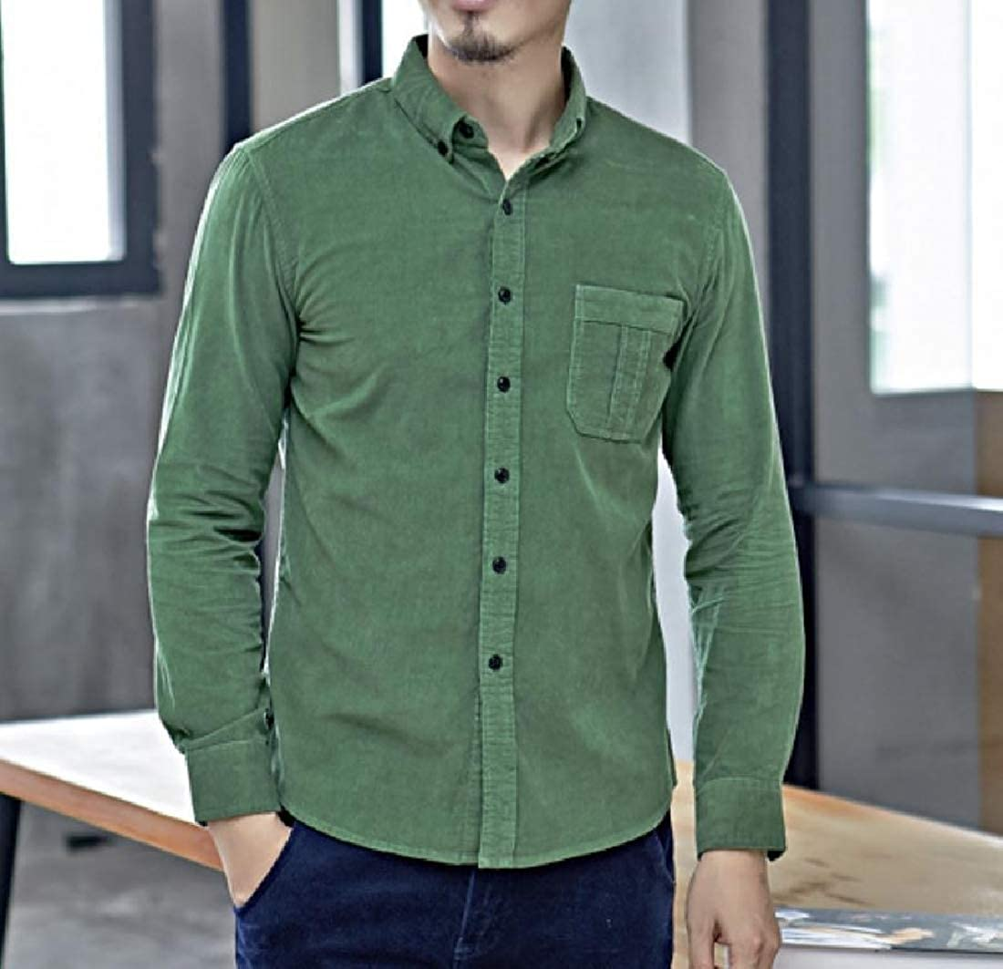 YUNY Mens Tops Woven Corduroy Button-Down-Shirts Business Shirt Grass Green 3XL