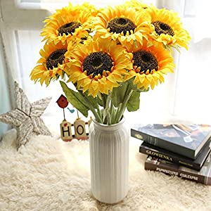 Fasclot Artificial Flowers Sunflower Floral Wedding Bouquet Party Home Decor Artificial Decorating Wedding Party (Yellow) 109